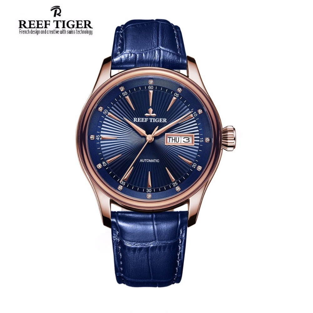 2017 New Reef Tiger Brand Classic Dress Watches Fashion Date Day Rose Gold Automatic Waterproof Watch Men Relogio Masculino