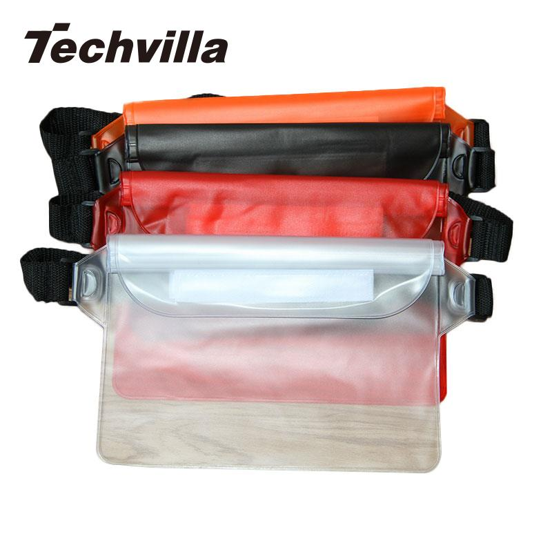 techvilla Outdoor Travel Rafting Waterproof Waist PVC Phone Bag Cover With Waist Belt