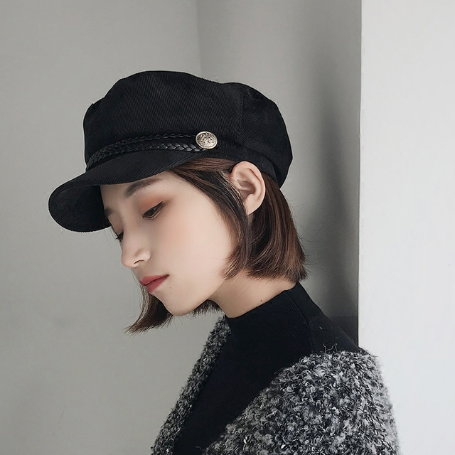 Spring newsboy cap female corduroy british style fashion youth Curved eaves  beret all match black painter s octagonal hat b7e447868e4