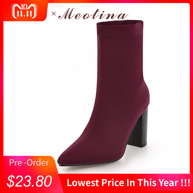 Meotina Winter Mid Calf Boots Women Boots Square High Heels Sock Boots  Autumn Pointed Toe Stretch Fabric Design Shoes Red 34-43 6898c30f3518