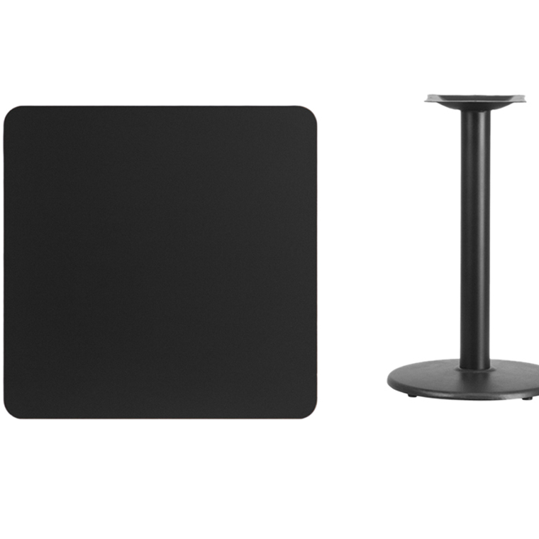 Flash Furniture 30 Square Black Laminate Table Top with 18 Round Table Height Base winsome cora pub table bar height round faux marble top black base