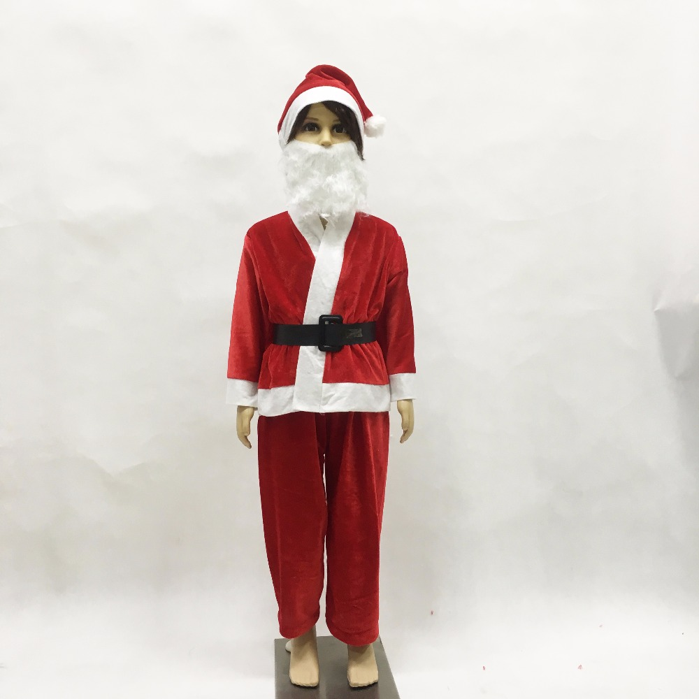 Children Christmas Santa Claus Costume Cosplay Santa Claus Clothes Fancy Dress In Christmas Boy 5pcs/lot