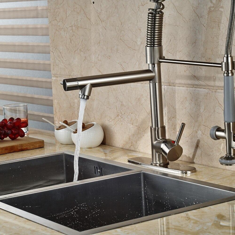 Luxury Nickel Brushed Kitchen Faucet Vessel Sink Mixer Tap + 8 ...