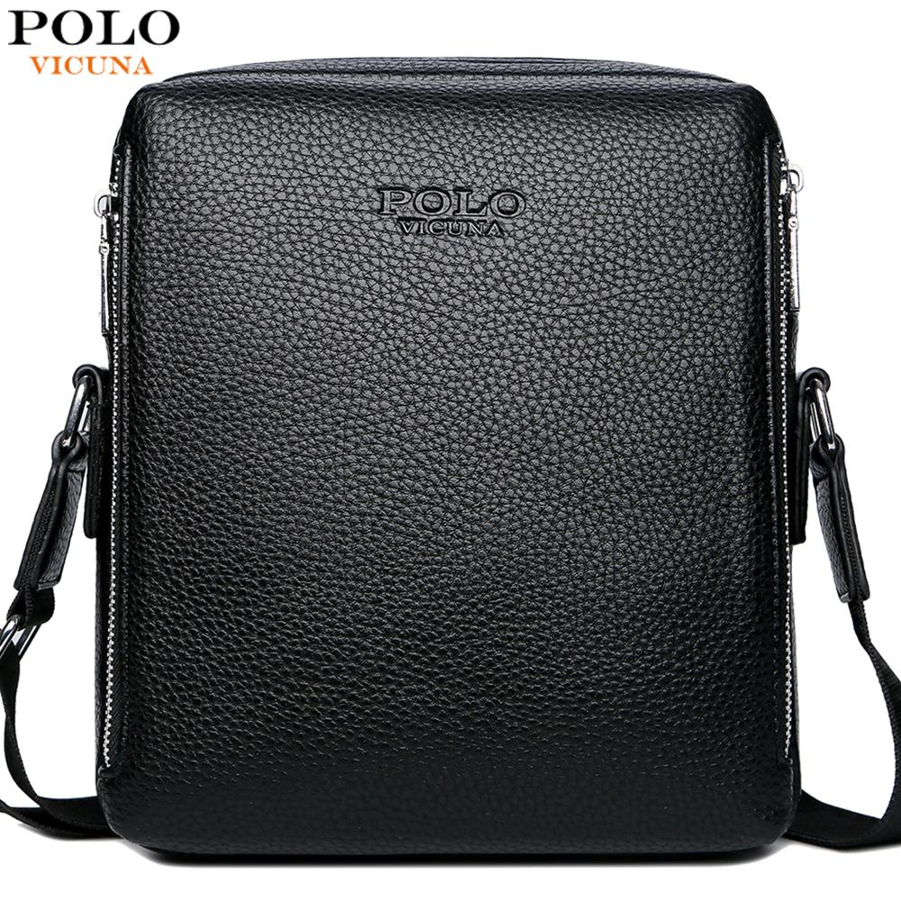 VICUNA POLO Simple Design Leisure Business Man Bag Famous Brand Mens Leather Messenger Bag Crossbody Shoulder Bags New