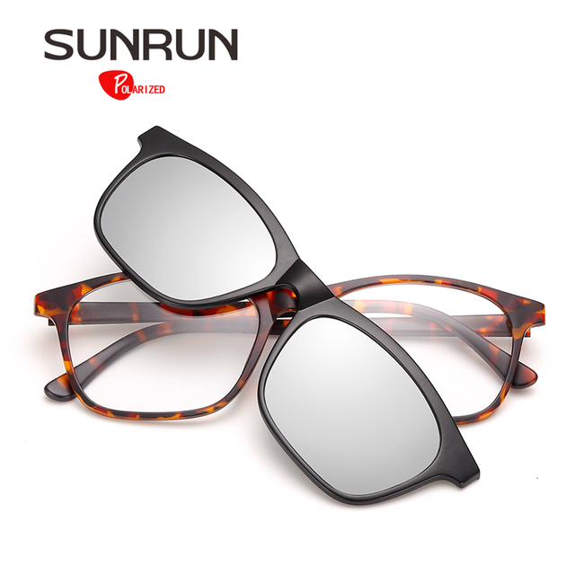 SUNRUN TR90 Optical Frame Glasses Women Polarized Sunglasses Lens Removable Glasses Splicing Vintage Eyewear Men oculos TR2209