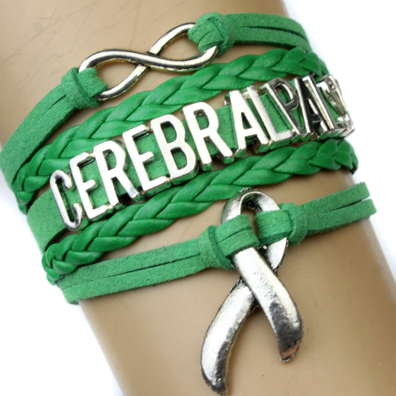 High Quality Cerebral Palsy Awareness Ribbon Bracelet Green Warrior Fight for Cerebral Palsy Bracelet Jewelry