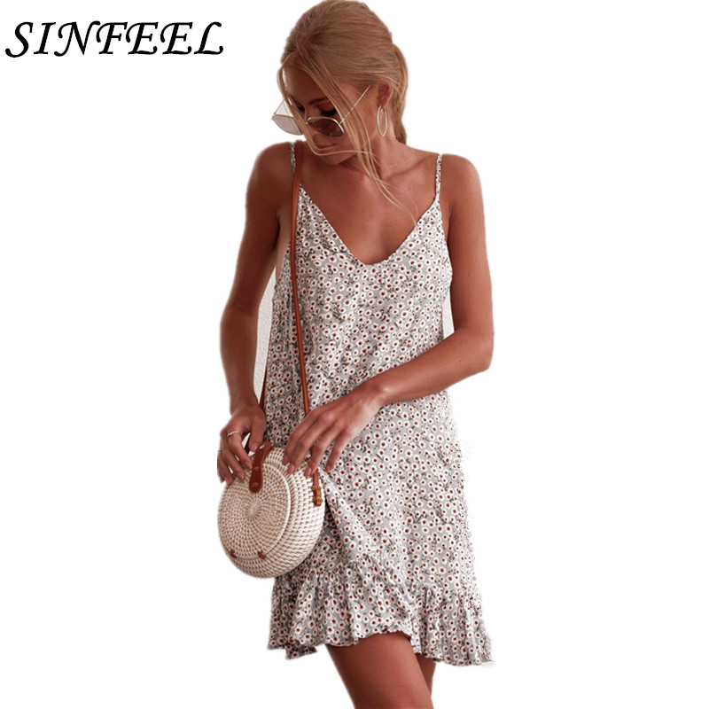 Women Dress 2019 Floral Print Camisole Sleeveless V-Neck Fashion Sexy Party Beach Dress Slim Soft Touch Mini Dresses Summer