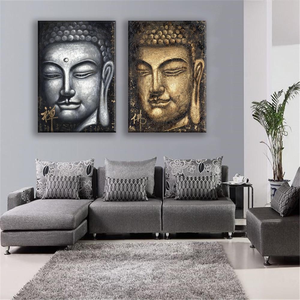 Leinwand Gemlde Oil Drucken Buddha Gesicht Religisen Menschen Wand Deko Poster Und Drucke Fr Wohnzimmer