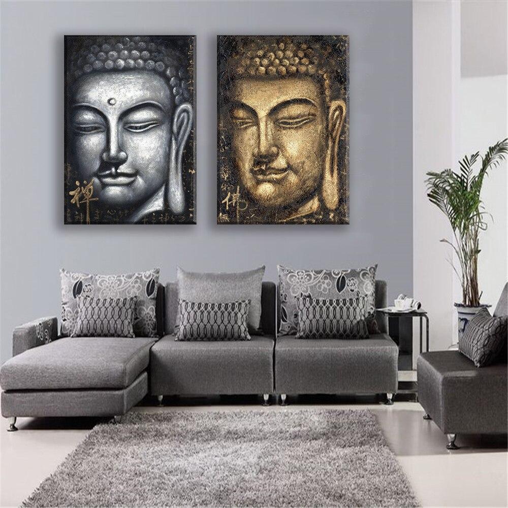 leinwand gemlde oil drucken buddha gesicht religisen menschen wand deko poster und drucke fr wohnzimmer - Buddha Deko Wohnzimmer