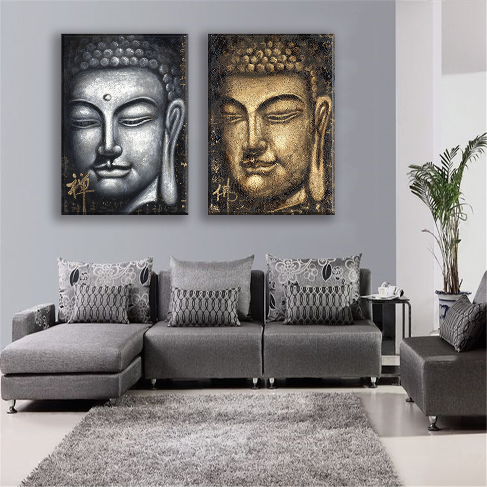 Canvas Painting Oil Print Buddha Face Religious People Wall Art Posters And  Prints For Living Room