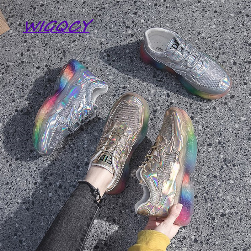 Colorful Laser Platform Sneakers 2019 Spring Autumn Shoes Fashion Womens Chunky Shoes Woman Multicolor Trainers Bling FootwearColorful Laser Platform Sneakers 2019 Spring Autumn Shoes Fashion Womens Chunky Shoes Woman Multicolor Trainers Bling Footwear