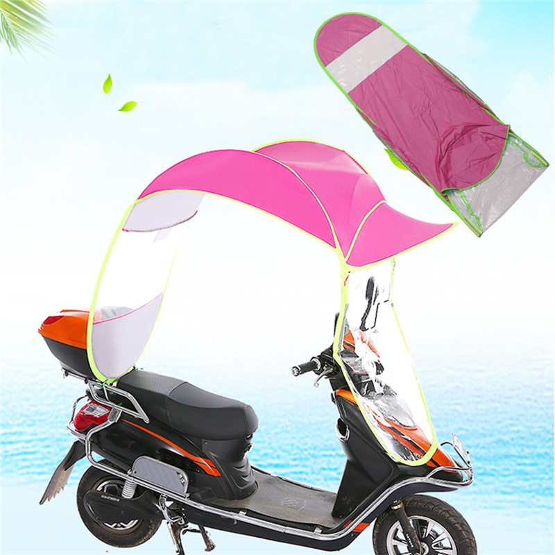 Motorbike Scooter Rain Cover Sun Shade Motorcycle Electric Vehicle Umbrella Raincoat Poncho Cover Shelter 2.8*0.8*0.7M benkia motorcycle rain coat hooded raincoat two piece raincoat suit riding rain gear motorcycle bicycle rain jacket and pants