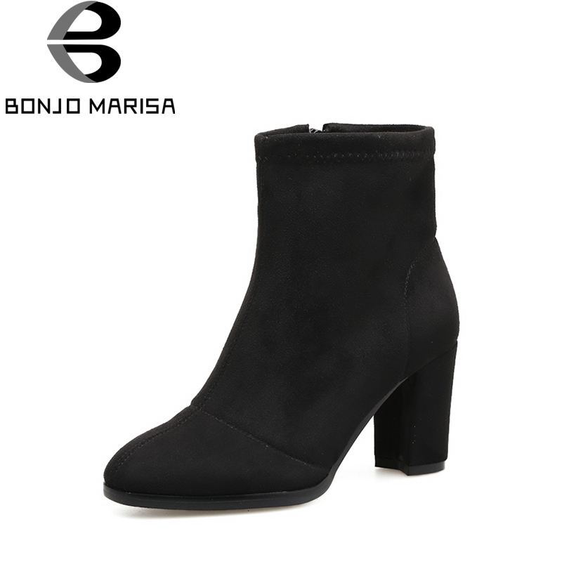 BONJOMARISA 2018 Spring And Autumn Concise Ankle Boots With Zipper Round Toe High Square Heel Women Shoes Large Size 33-41 nemaone 2018 women ankle boots square high heel pointed toe zipper fashion all match spring and autumn ladies boots