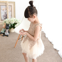 New Summer 2016 Girls Champagne Dress Children Formal Dress Kids Princess Dress Baby Layered Dress Very Beautiful,2-12Y