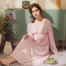 Lady Sexy Nightgown Long Nightdress Pink Lace Cotton Viscose Nightgown V-neck Classic Sleepwear Dress For Women Size S - 4XL(China)