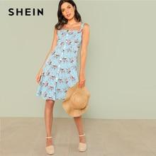 Шеин Цветочный принт на пуговицах 2018 летние ремни без рукавов Цветочный принт платье Для женщин Многоцветный отпуск пляжное платье