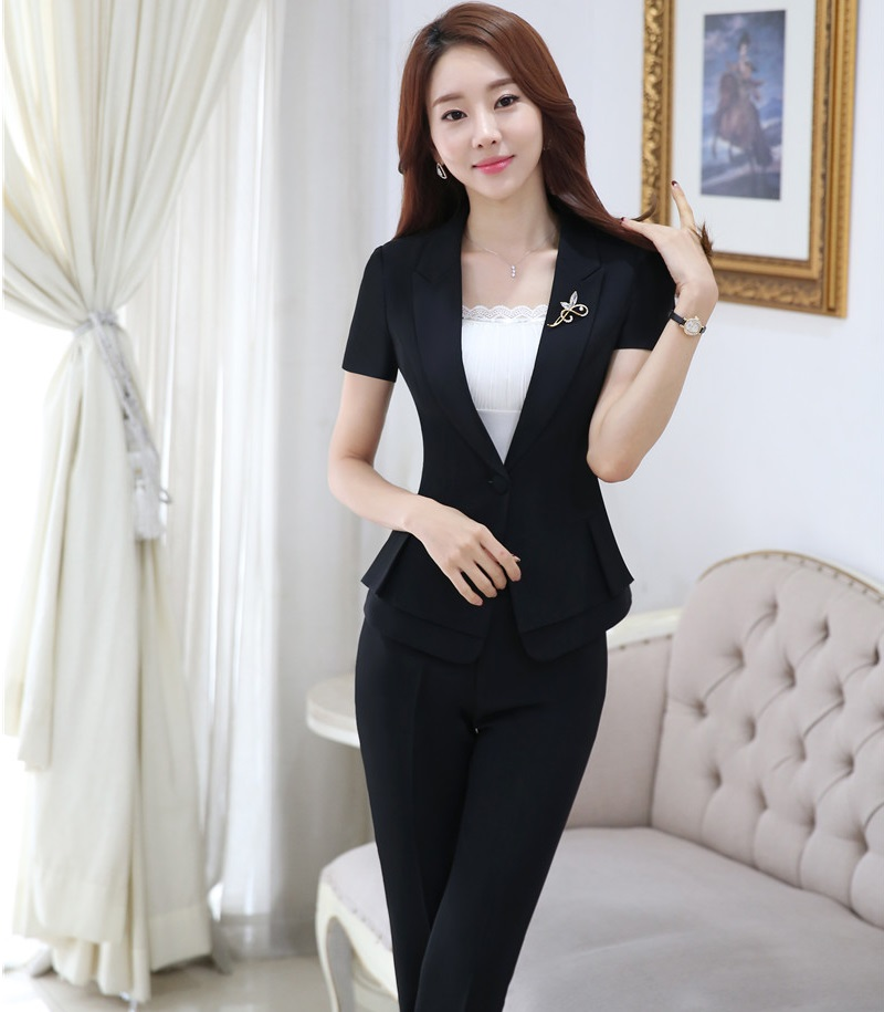 Plus Size 4XL Professional Formal Pantsuits Short Sleeve 2016 Summer Business Women Suits Female Trousers Sets Jackets And Pants