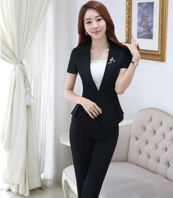 Plus Size 4xl Professional Formal Pantsuits Short Sleeve 2016 Summer