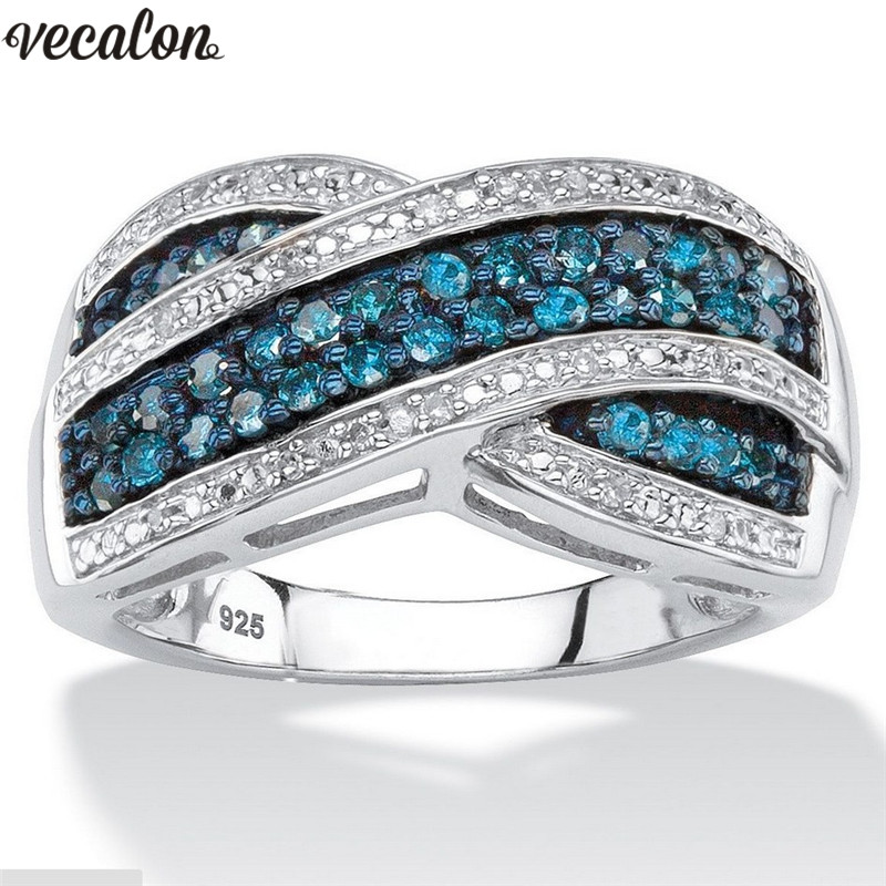 Vecalon Classic infinity ring Silver Color Pave setting Blue Cz Crystal Engagement wedding band rings For women Finger Jewelry