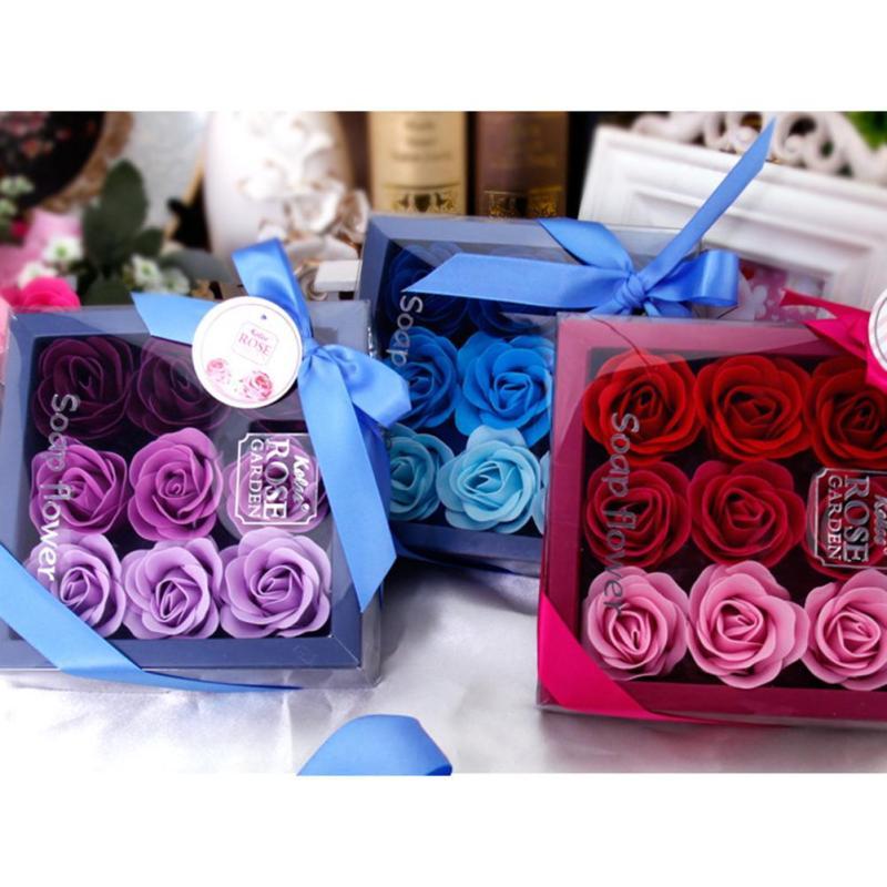9 stks / doos Kleurrijke Hartvormige Rose Zeep Bloem Romantische - Feestversiering en feestartikelen - Foto 5
