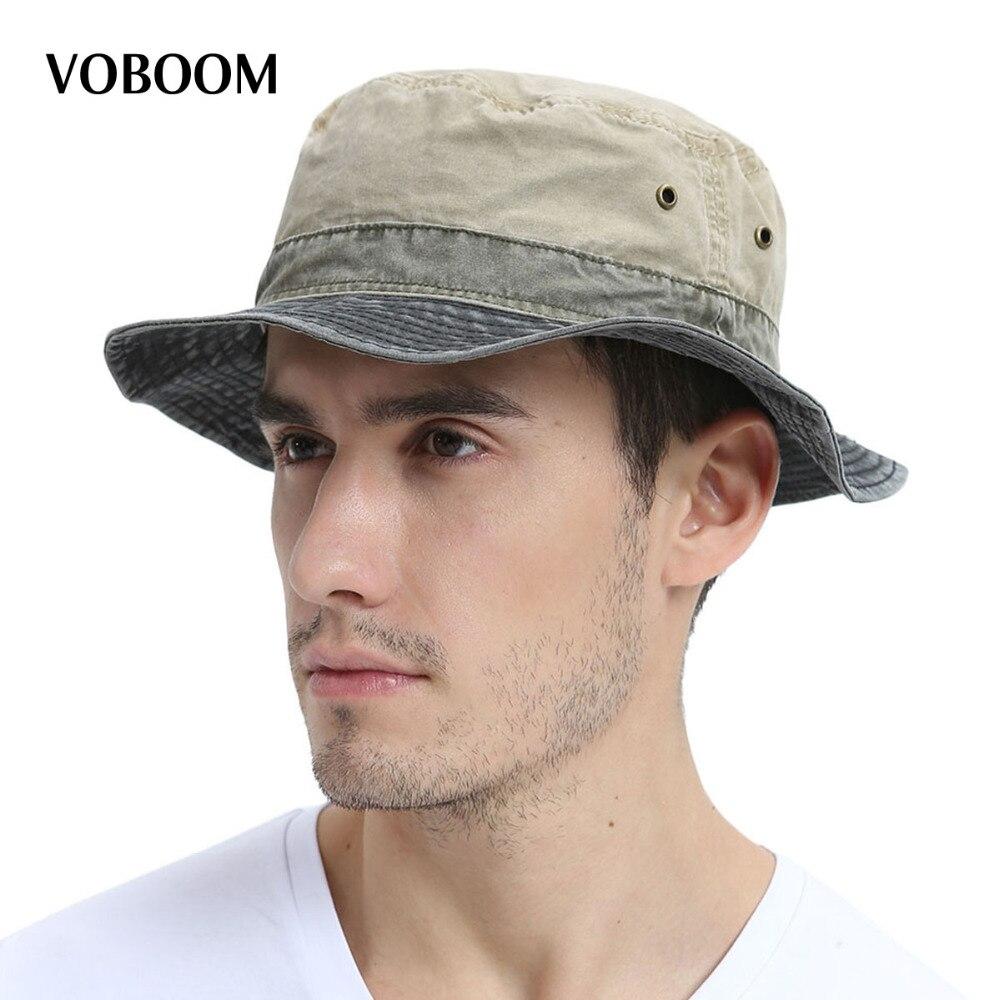 VOBOOM Hommes de Bob D'été Panama Seau Chapeaux En Plein Air Pêche Large Bord chapeau UV Protection Cap Hommes Sombrero Gorro Soleil pour Mâle 139