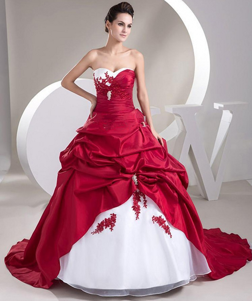 Wedding Gowns With Red: Sexy Ball Gown Satin Bride Bridal Cheap Red And White