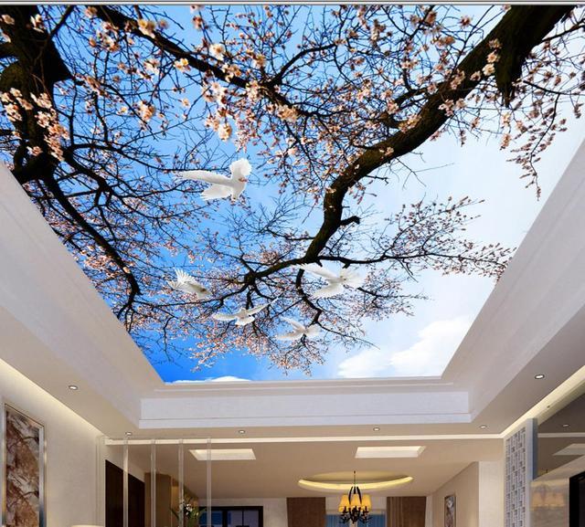 3d Stereoscopic Mural Wallpaper Europe 3d Ceiling Plum Branches Sky Custom Hd Ceiling
