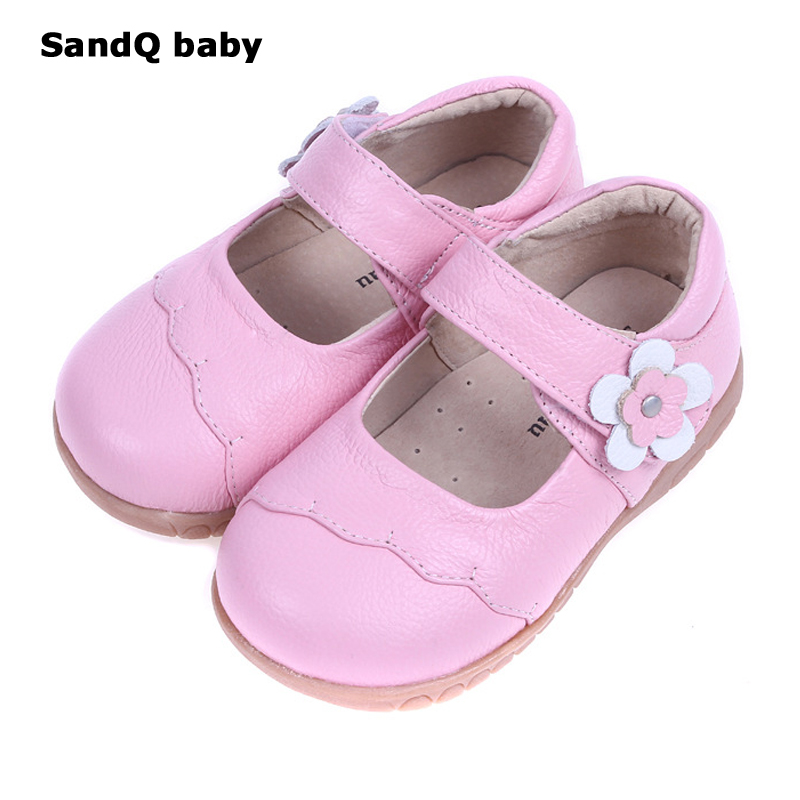 Kids Shoes 2018 New Spring Girls Fashion Genuine Leather Shoes Princess Party Flats Children Black Mary Jane Footwear Flower