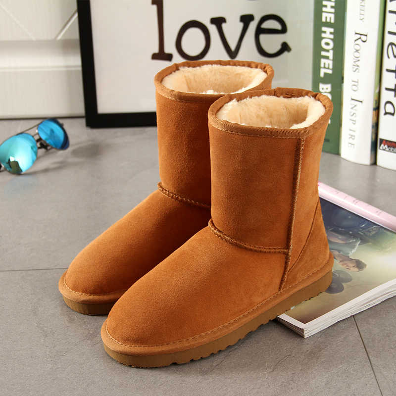 Begocool Classic Snow Boots For Women 100% Genuine Cowhide Leather Australia Warm Winter Boots Woman Shoes Botas Cheap