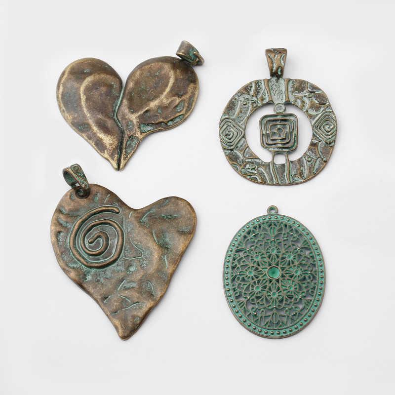 3mm Top Loop Prayer Bell Tibetan Verdigris Patina Charm Pendant or Focal 02 Pieces per Order Size 18mm Green Patina on Brass