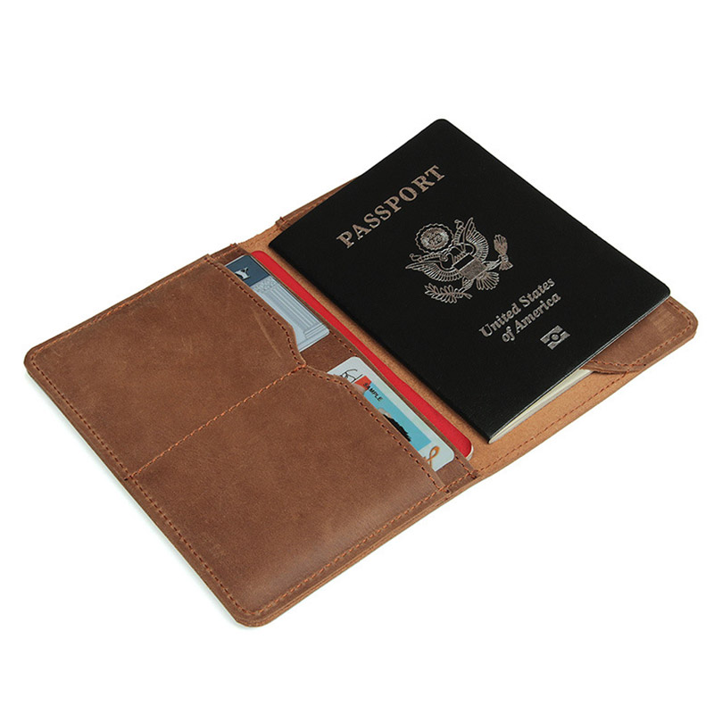 Unisex Crazy Horse Leather Passport Cover Women Men Genuine Leather Passport Case Pocket Carry Travel Card Holder Wallet