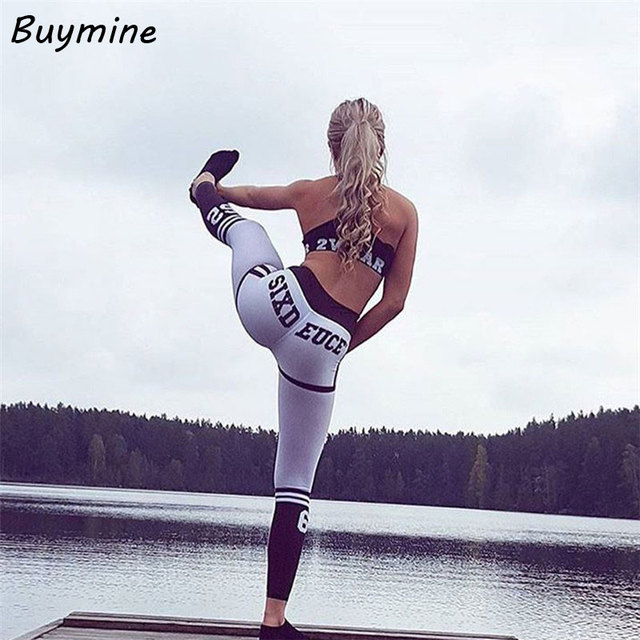 2017 Summer Fitness Leggings Women Letter Printed Striped Leggings Fitness Skinny Legging Sporting Workout Pant Sweatpants Pants