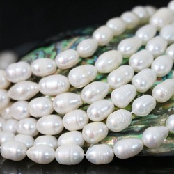 Acrylic white natural pearl rice spacer beauty high quality jewelry making loose beads  7-8mm 15inch B1344