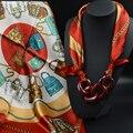Кулон Шелковый Шарф Ожерелье Цветочные Печатные Красивые SilkBrand Шарфы Аксессуары Мода Повседневный Стиль 2015 Осень Новое Прибытие