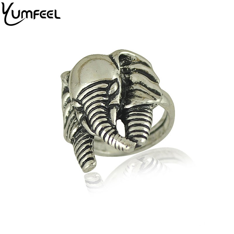 Yumfeel Vintage Animal Jewelry Metal with Antique Silver Plated Elephant Ring For Women Boho Jewelry Rings