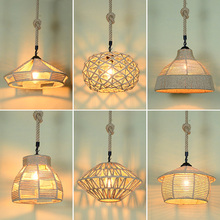 Loft Pendant Lamp Retro industry rope hemp clothing Hotpot Restaurant Internet bar cafe light decorative dining room chandelier nordic retro iron round pendant light loft vintage lamp pendant hand knitted hemp rope light for restaurant bedroom dining room