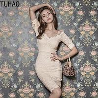 TUHAO Short Puff Sleeve Sexy Elegant Office Party Dress Elegant Lace Dresses Lace Pencil Dress 2019 Women Summer Woman dress