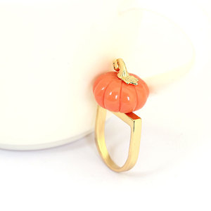 Image 5 - Orange Color Pumpkin Ring Elegant Noble Luxury Jewelry Enamel Glaze Ring bague Aneis