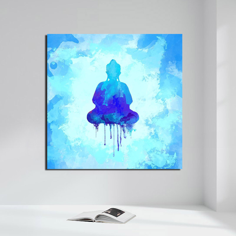Gautam Buddha Watercolor Painting Canvas Prints Living Room Home Decoration Modern Wall Art Oil Poster Picture