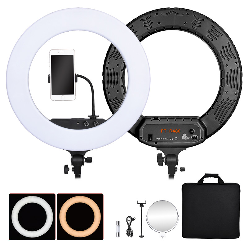 fosoto FT R480 18 inch Ring Light Lamp Bi color 3200 5800K Dimmable Photographic Lighting Mirror
