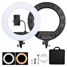 fosoto FT-R480 18 inch Ring Light Lamp Bi-color 3200-5800K Dimmable Photographic Lighting Mirror For Phone Camera Photo Video fosoto fd 480ii dimmable bi color 18 96w camera photo video photography led ring light lamp with lcd screen tripod stand mirror