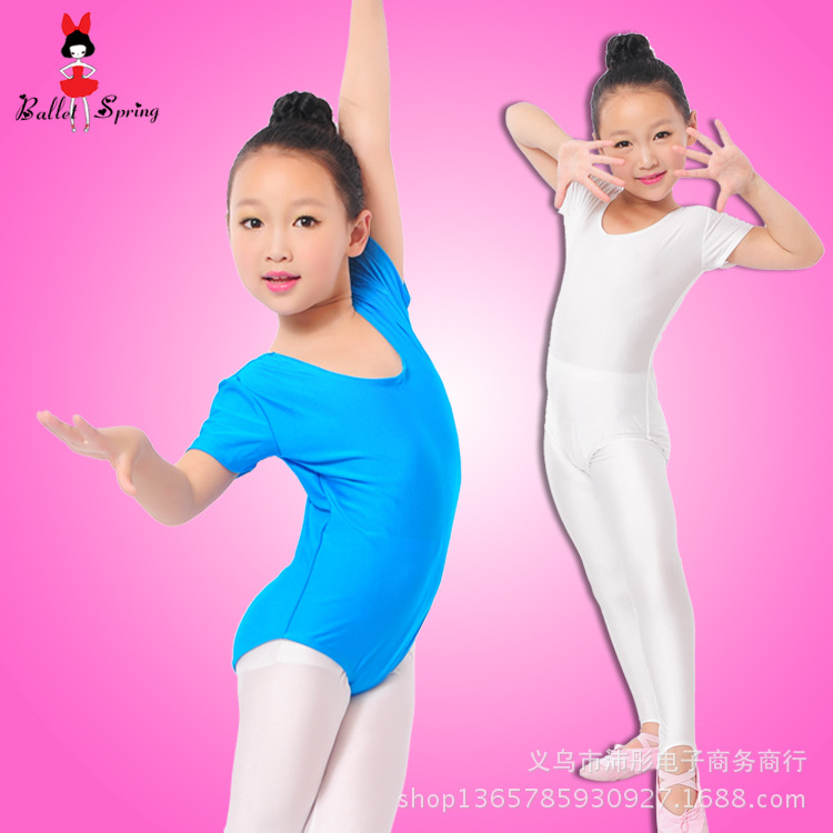 girls-font-b-ballet-b-font-bodysuit-children-blue-white-dance-leotard-short-sleeved-gymnastics-wear