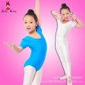 Meninas Ballet Dança Collant Bodysuit Crianças Azul Branco de Manga Curta Desgaste da Ginástica