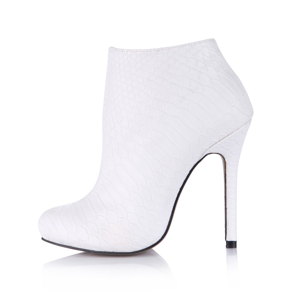 hot sexy stiletto ultra high heels ankle boots classic white women ...