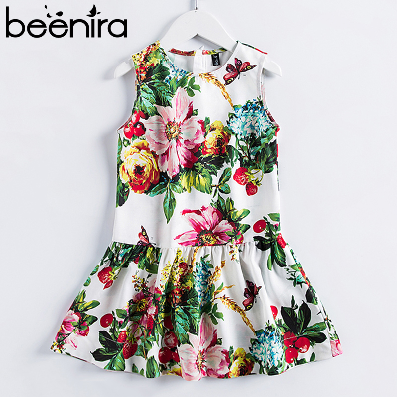 Beenira Children Summer Dress 2018 European And American Style Sleeveless Pattern Printed Kids Dress 4-14Y Girls Princess Dress retro style sleeveless tiger stripes printed mini dress for women