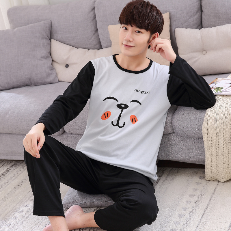 Autumn Long-sleeved Knitted Cotton Men's Pajamas Letter Striped Cartoon Pajama Sets Casual Men Pyjamas Plus Size L-4XL Pijama