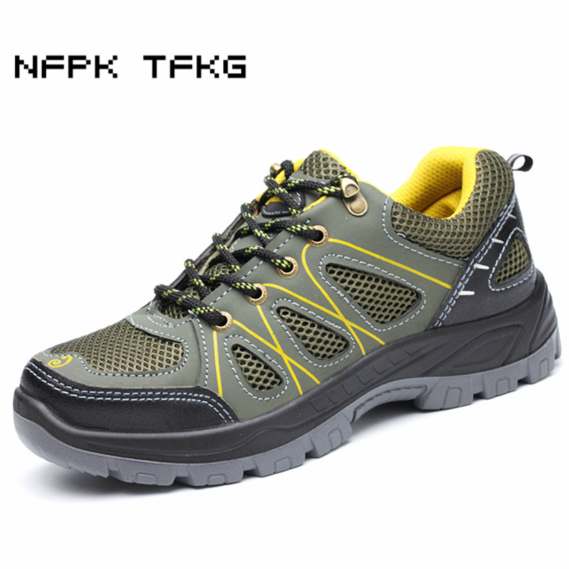 men's fashion breathable steel toe covers work safety shoes big size non-slip anti-puncture tooling boots protective footwear man safety steel toe shoes cover blue factory visitors protective overshoes non slip anti smashing industrial safety footwear