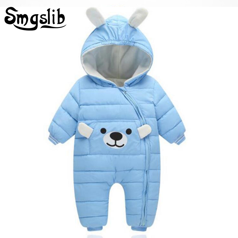 Baby winter jumpsuit bear down Cotton toddler long sleeve romper jumpsuit baby bear costume children snowsuit boy girls romper bear baby