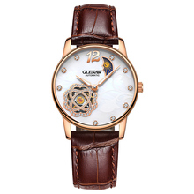 цены на GLENAW Women's Watches Luxury Brand Ladies Watch 30M Waterproof Automatic Mechanical Watch Genuine Leather Strap Bayan Kol Saati  в интернет-магазинах