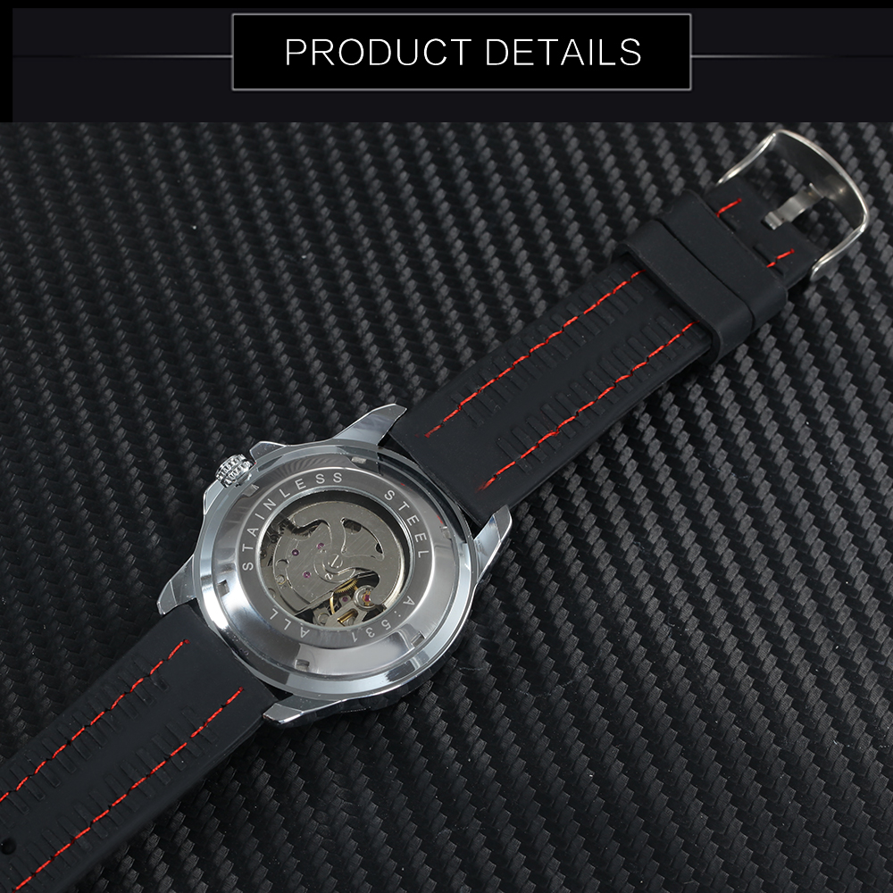 WINNER Official 2019 New Fashion Men Automatic Mechanical Watches Luxury Brand Skeleton Luminous Hands Rubber Strap WINNER Official 2019 New Fashion Men Automatic Mechanical Watches Luxury Brand Skeleton Luminous Hands Rubber Strap Sport Clock